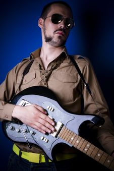 Free Rock Guitar Player Portrait Royalty Free Stock Photo - 2888145