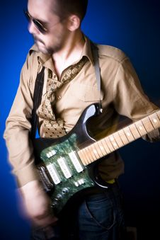 Dynamic Guitar Player Royalty Free Stock Image