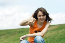 Free Girl Shows The OK Sign Stock Photo - 2888750