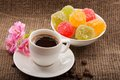Free Flowers, Coffee And Sweets. Stock Image - 28805751