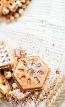 Free Ruddy Homemade Waffles With Powder And Wheat Ears Royalty Free Stock Photography - 28803617
