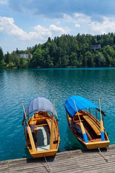 Two Row Boats On The Lake Stock Photography