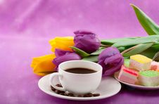 Free Flowers, Coffee And Sweets. Royalty Free Stock Photos - 28806448
