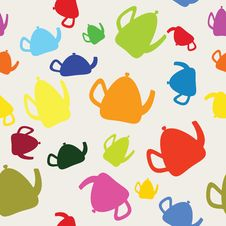 Seamless Coloureds Kettles. Stock Photos