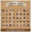Free Pictogram Multimedia Symbols Set Royalty Free Stock Photography - 28811267