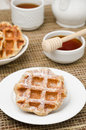 Free Homemade Waffles Topped With Powdered Sugar For Breakfast Royalty Free Stock Image - 28818386
