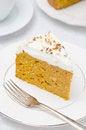 Free Piece Of Pumpkin Cake With Cream Closeup Stock Photos - 28818393