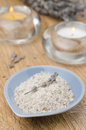 Free Sea ​​salt With Lavender And Two Candles On The Wooden Table Stock Image - 28818561
