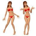 Free Cartoon Girl In Red Bikini Royalty Free Stock Image - 28818716
