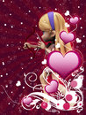 Free Pink Hearts With Floral And Cupid Royalty Free Stock Photography - 28818807