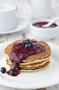 Free Stack Of Pancakes With Black Currant Jam On A Plate Stock Images - 28819034