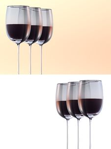 Wineglass Three Set Royalty Free Stock Photo