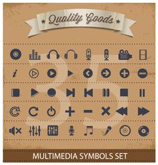 Free Pictogram Multimedia Symbols Set Royalty Free Stock Photography - 28811267
