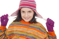 Free Beautiful Young Girl In Warm Winter Clothes Stock Photo - 28814470