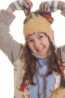 Free Beautiful Young Girl In Warm Winter Clothes Stock Photos - 28814513