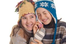 Free Beautiful Young Girls In Warm Winter Clothes Speaking On A Mobil Royalty Free Stock Photo - 28816025