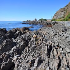 Kaikoura Rocky Coastline Vertical Panorama, New Zealand Stock Photos