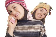 Free Beautiful Young Girl In Warm Winter Clothes Speaking On A Mobile Stock Photos - 28816093