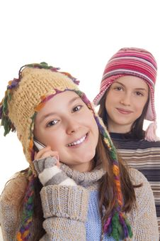 Free Beautiful Young Girl In Warm Winter Clothes Speaking On A Mobile Royalty Free Stock Photography - 28816147