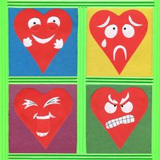 Free Funny Hearts Paper Cutout Royalty Free Stock Image - 28816156