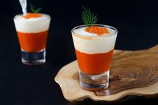 Appetizer Of Sweet Pepper, Cream And Red Caviar In A Glass Goble Stock Photography