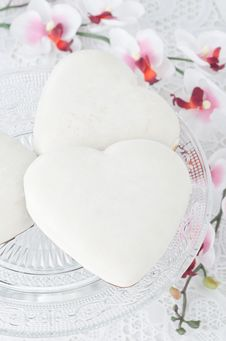 Free Cookies With Icing In The Form Of Heart On A Glass Base, Selecti Stock Image - 28818331