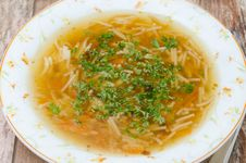 Free Chicken Soup With Noodles And Carrots Closeup Top View Stock Images - 28818334