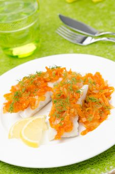 Cod With Pickled Carrots And Onions Stock Image