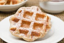 Free Homemade Waffles Topped With Powdered Sugar For Breakfast Stock Photos - 28818383