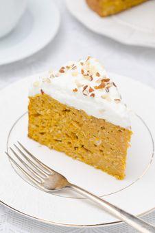 Piece Of Pumpkin Cake With Cream Closeup Stock Photos