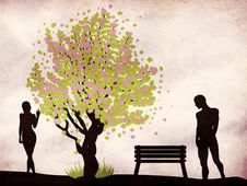 Free Couple And Blossoming Tree Royalty Free Stock Images - 28818719
