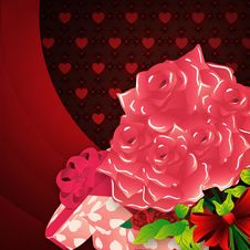 Free Roses And Gift Box Lovely Background Stock Image - 28818811