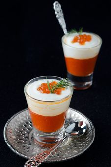 Two Appetizers In A Glass Goblet Of Sweet Pepper, Cream And Red Royalty Free Stock Image