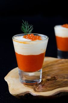 Two Appetizers Of Sweet Pepper, Cream And Red Caviar In A Glass Stock Images