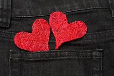 Free Two Red Hearts In A Pocket Royalty Free Stock Image - 28819186
