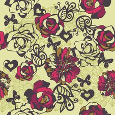 Free Floral Seamless Texture Royalty Free Stock Photo - 28819585
