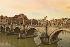 Free Sant Angelo Bridge At Sunset, Rome Royalty Free Stock Photo - 28819985