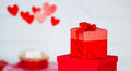 Free Hearts And Wrapped Present Box Stock Photo - 28824020