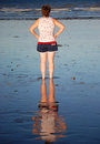 Free Woman&x27;s Reflection In Wet Sand On Australian Beach Stock Photography - 28825532