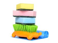 Free Sponges, Garbage Bags And Brush For Cleaning Stock Photography - 28822002