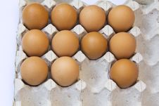 Fresh Brown Eggs In Carton Tray Royalty Free Stock Images