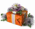 Free Holiday Flowers With Gift Box Royalty Free Stock Image - 28831806