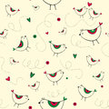 Free Seamless Pattern With Birds And Hearts Royalty Free Stock Photography - 28839617