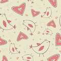 Free Seamless Pattern With Birds And Hearts Stock Image - 28839861