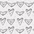 Free Seamless Pattern With Black Hearts Royalty Free Stock Image - 28839926