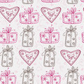 Free Seamless Pattern With Gifts And Hearts Royalty Free Stock Photos - 28839968