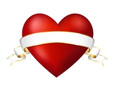 Red Heart With A Ribbon Royalty Free Stock Image