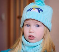 Free Portrait Of Cute Little Girl In Blue Hat Royalty Free Stock Image - 28838256