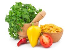 Free Parsley In Mortar And Pasta Stock Image - 28839251