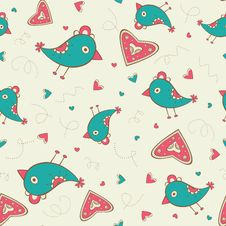 Free Seamless Pattern With Birds And Hearts Royalty Free Stock Images - 28839839